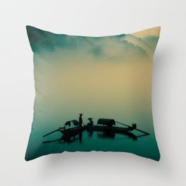Junk ship Chinese Boat Throw Pillow