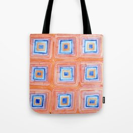 Twelve Red and Blue Melted Together Squares Tote Bag