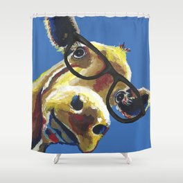 Cute Cow With Glasses, Up close Glasses Cow Shower Curtain