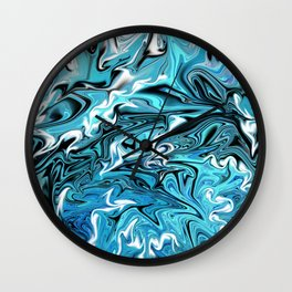 Blue and Black Fire Wall Clock