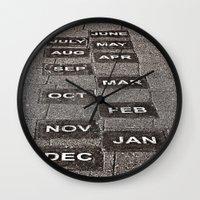 calendar Wall Clocks featuring Calendar Walk by Ethna Gillespie
