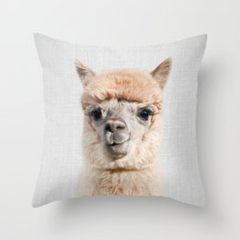 Alpaca - Colorful Throw Pillow