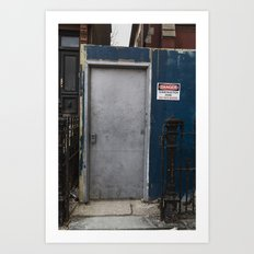 Untitled, blue wall door Art Print