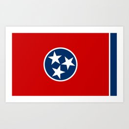 Flag of Tennessee - Authentic High Quality Image Art Print