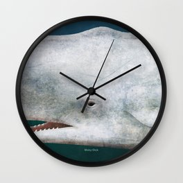 Herman Melville's Moby-Dick - Literary book cover design Wall Clock