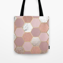 Indulgent desires rose gold marble Tote Bag