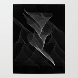 Black and White Flux #minimalist #homedecor #generativeart Poster