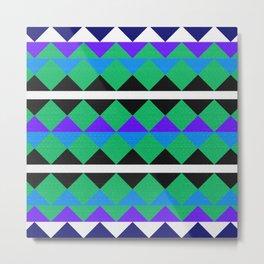 Tribal Colorful Geometric Pattern Metal Print