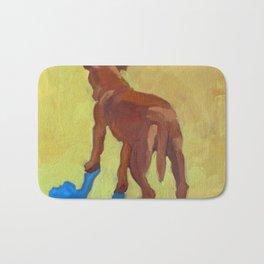 Dog and His Blue Shadow Bath Mat