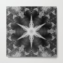 Kaleidoscope Train and Trees, Black and White Metal Print