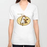 mythology V-neck T-shirts featuring  valkyrie of Norse mythology female rider warriors by patrimonio