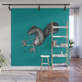 Ride On Squirrel_teal Wall Mural