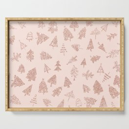 Modern rose gold glitter Christmas trees pattern on blush pink Serving Tray