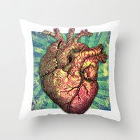 anatomical heart Throw Pillows featuring Anatomical heART by Li9z