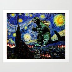 Godzilla versus Starry Night Art Print