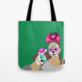 Sugar Skull Halloween Girls Green Tote Bag