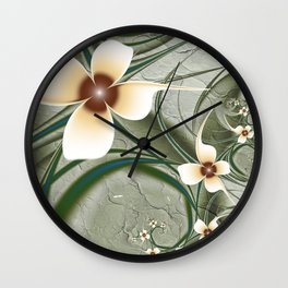 Fractal Doodadling with Flowers Wall Clock