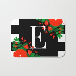 E - Monogram Black and White with Red Flowers Bath Mat
