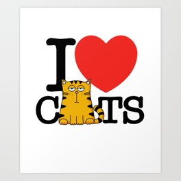 I Love (Heart) Cats Art Print