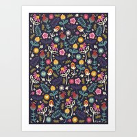 yetiland Art Prints featuring Ditsy Flowers by Poppy & Red
