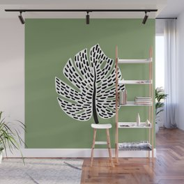 Abstract Monstera Leaf green Wall Mural