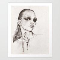 sasha grey Art Prints featuring Sasha by Ariane Jaccarini