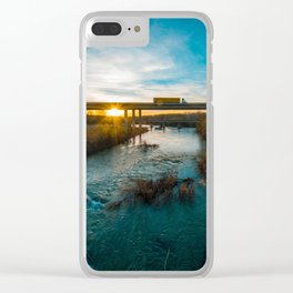 Yellow Truck in Sunset Clear iPhone Case