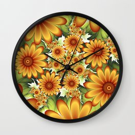 A Floral Dream Of Summer, Fractals Art Wall Clock