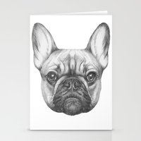 frenchie Stationery Cards featuring Frenchie by Victoria Novak