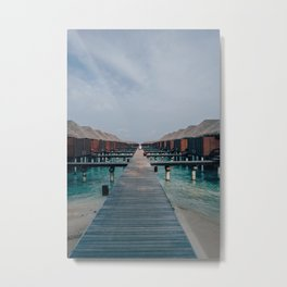 Overwater Bungalows in the Maldives Metal Print