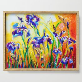 Alpha and Omega Impressionist Blue Irises Serving Tray