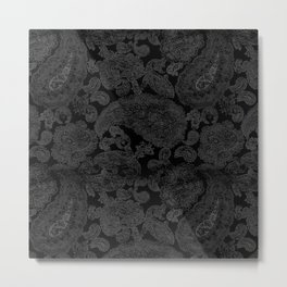Dark Intricate Paisleys Metal Print