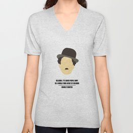 """Charlie Chaplin - """"Religion. It's given people hope in a world torn apart by religion"""" Unisex V-Neck"""