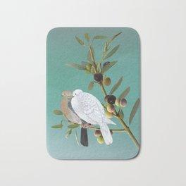 Doves in Olive Tree Bath Mat