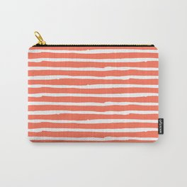 Thin Stripes White on Deep Coral Carry-All Pouch
