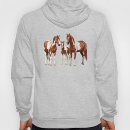 Chestnut Pinto Paint Horses In Snow Hoody