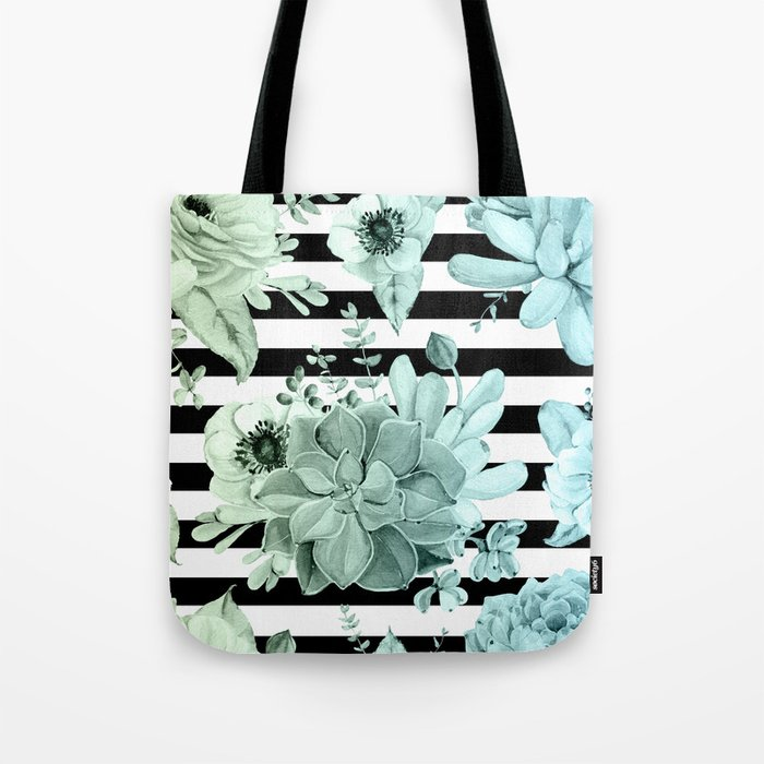 Succulents in the Garden Teal Blue Green Gradient with Black Stripes Tote Bag