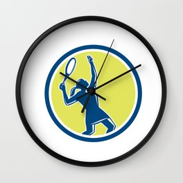 Tennis Player Female Racquet Circle Retro Wall Clock