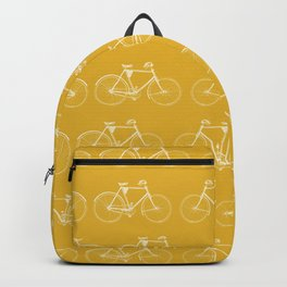 Saffron-Yellow Vintage Bicycle Pattern Backpack