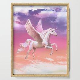 Flying unicorn at sunset Serving Tray