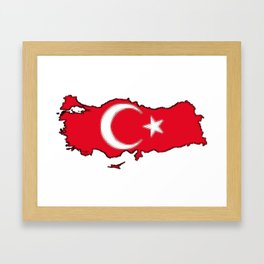 Turkey Map with Turkish Flag Framed Art Print