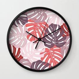 Red monstera deliciosa Wall Clock