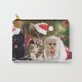 Holiday Christmas Merry Christmas Cat Santa Hat Cu Carry-All Pouch