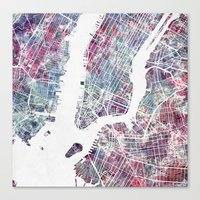 new york map Canvas Prints featuring New York map by MapMapMaps.Watercolors