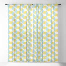 Cubes with Doorway Pattern ~ limpet shell blue Sheer Curtain