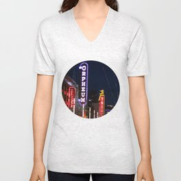 Granville St after dark 2 Unisex V-Neck