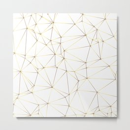 Geometric Golden Abstract Lines Metal Print