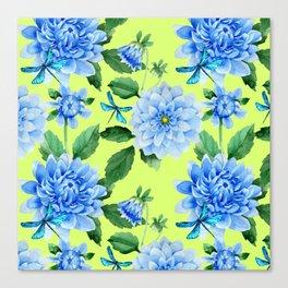 Modern blue lime punch watercolor dahlia floral pattern Canvas Print