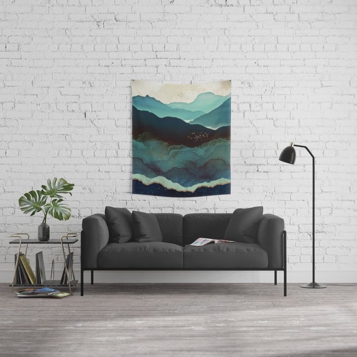 Indigo Mountains Wandbehang