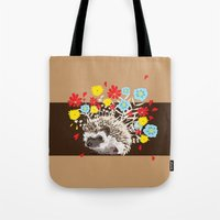 hedgehog Tote Bags featuring hedgehog by Caracheng